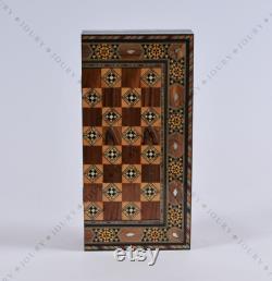 12 Ensemble d échecs en bois -Pliage Backgammon Board, Mosaïque fait main, cadeau de Noël de famille