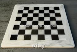 12'' White and Black Handcarved Square Marble Chess Board Collectible Stone Play Room Décors