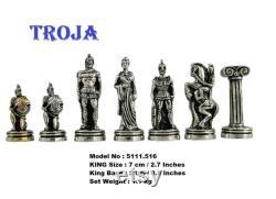 14 Pouces Hero Chess Set With Metal Figures Moyen Noyer