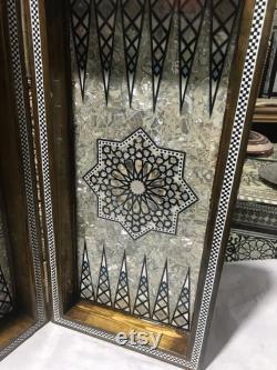 16,8 pouces vintage à la main Backgammon échiquier égyptien Bois incrusté De Perle avec dames m07