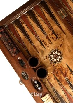 20.5 Inch Personnalisé Asia Backgammon Set With Numerator Placage naturel mazel et noyer
