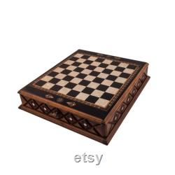 20.5 Pouces Istanbul Chess Set Black Mother of Pearl incrusté Chess Board