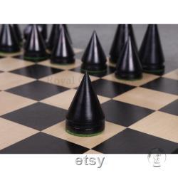 3.1 Russe Poni Jeux d échecs minimalistes Seulement ensemble -Bois de boîte éboné Boxwood