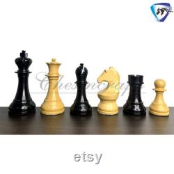3.75 2013 World Champion Chess Pieces Set Official FIDE Approved In Ebonized Boxwood Weighted with Extra Queens.