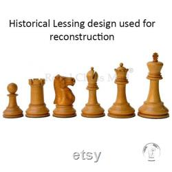 3.9 Jacques Staunton Chess Pieces only Set Lessing Series of Jacques Ebony Wood