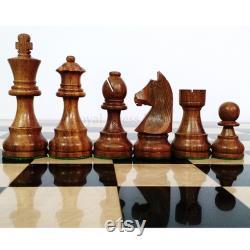 3.9 Tournoi Pièces d échecs en bois Seulement ensemble avec 2 reines supplémentaires Bois de rose d or