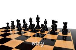 AIW-350 pièces d échecs en bois 3.75 King Natural Black Laqué de luxe staunton bois échecs ensemble pièces d échecs seulement - L Empire des échecs