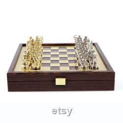 Archers Small Chess Set BrassandNickel Boîtier en bois Red-Brass Board