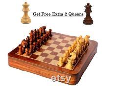 Avec 2 extra Queens Indian Handmade Wooden Magnetic Chess Board Set avec tiroir de rangement intérieur 12x12 Inche et hand carved Chess Pieces Set,