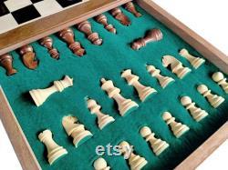 Avec 2 queens supplémentaires artisanat jeu d échecs en bois avec des pièces d échecs magnétiques en bois, cadeaux pour enfants, cadeaux d anniversaire, cadeaux de Noël, échecs