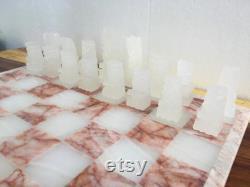 Azteca sculpté à la main Rose Blanc Jeu d échecs 14 , Onyx Marbre Jeu d échiquiers, Aztec Chess Set, Style Maya, Stone Chess Board Set.