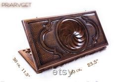 BACKGAMMON en bois BOARD SET Jeu Arménien Infinity Ornement Nardy échecs en bois sculpté main en bois Arménie Bois Nardi table de gravure