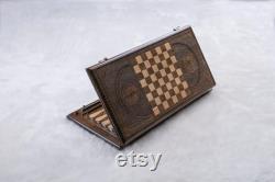 Backgammon Board Arménie avec Chess Checkers