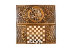Backgammon Set Tiger avec Chess Checkers Board