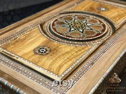 Backgammon ensemble 21 pouces, Luxury Backgammon Board, HQ en bois massif Backgammon Set, Main sculpté backgammon en bois incrusté de nacre