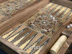 Backgammon set 21 pouces, Luxury Backgammon Board, HQ solide bois d olive Backgammon Set, Main sculpté backgammon en bois incrusté de nacre