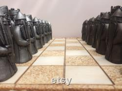 Beautiful Isle of Lewis Chess Pieces With Rare Beserker Pawns (V1) (Antique Bronze and Pewter effect)
