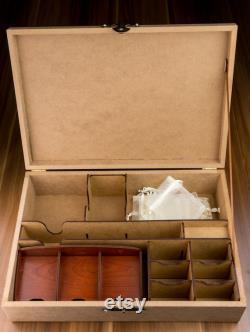 Boîte de rangement de jeu de plateau en bois personnalisée et porte-cartes Personnalisation Coupe laser Joueur, Cadeau pour lui, Anniversaire, Cadeau de fête des Pères