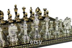 Brass Metal Chess board jeu Set Hand Carved with Brass metal pièces d échecs boîte de rangement en velours.