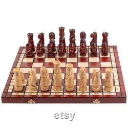 CASTLE DELUXE Ensemble d échecs en bois 50cm 20in. Chaque pièce sculptée à la main