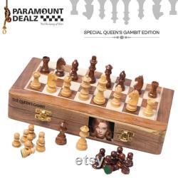 CHESS BOARD PERSONNALISÉ Wooden Magnetic Travel jeu de société ensemble Golden Rosewood Hand fabriqué avec Staunton Chess Pieces Mother s Day Gift