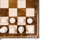 CHESS SET 3 IN 1 Échecs personnalisés en bois avec backgammon