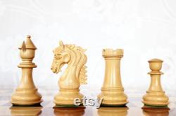 CLEARANCE VENTE Fabriqué à la main Euwe Pièces d'échecs de luxe en Padauk africain et Boxwood- 4.5