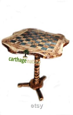 Cadeau Noel, Cadeau anniversaire, Échiquier, décoration maison, Table d'échecs rustique en bois d'olivier avec support 60 cm, cadeau maman