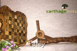 Cadeau Noel, Cadeau fin d'année, Échiquier, décoration maison, Table d'échecs rustique en bois d'olivier avec support 60 cm, cadeau papa