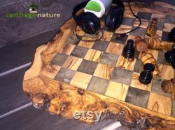 Cadeau collègue, Cadeau anniversaire, ÉCHIQUIER Jeu d'échecs rustique en BOIS D'OLIVIER 45 cm, cadeau maman papa, cadeau st valentin