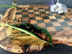 Cadeau parents, Échiquier, jeu d'échecs rustique en bois d'olivier 45 cm, cadeau amie, art deco, cadeau papa, décoration maison insolite