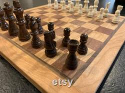 Chess Board, Cherry and Sapele with Walnut and Cherry Border, 12po, Hardwood, Gift Idea, Oregon Made, Long Lasting, queens gambit, pieces