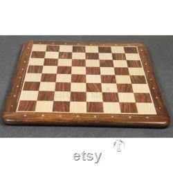 Chess Board en bois Main sculptée de 17 à 21 en bois de rose doré et bois d érable
