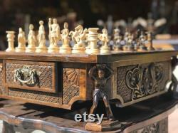 Chess Handmade Unique Arménien Handmade Chess Atlants Set Board Game Hand sculpté dans du bois de noyer naturel, Rare un cadeau de ma part