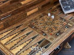 Chess and Backgammon Set 20 , HQ Backgammon Board, backgammon en bois de luxe, échiquier fait main incrusté de nacre