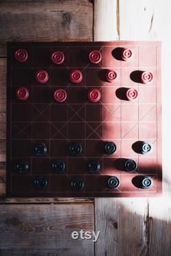 Chess and Checkers Leather Travel Board