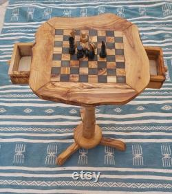 Chess set table with drawers olive wood rustic chess set board 13,4 with 32 hand-crafted pieces, chess board, chess table anniversary gif
