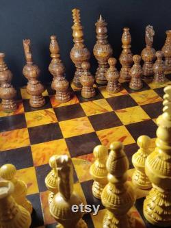 Chessboard en bois fait main with Pièces