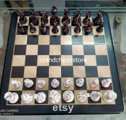 Combo zèbre jeu d échecs 21 Ébène en bois Échiquier de la place 55 mm 4 luxery panted set, 2 base Staunton jeu d échecs,,DAD GIFT,GIFT