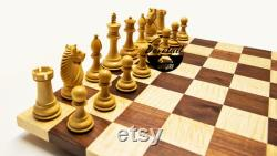 Compétition artisanale Hardwood Chess Set W Deluxe Chess Pieces 18 pouces Wooden Chess Set Anniversaire de mariage Noël