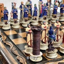 Crusaders Chess Set avec échiquier en bois massif fait à la main Expédié via INTERNATIONAL EXPRESS SHIPPING (1-5 jours dans le monde entier)