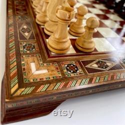 Dames en bois massif incrusté à la main et jeu d échecs avec 2 queens supplémentaires d échiquiers pondérés ou réguliers Expédié via INT. EXPRESS SHIPPING