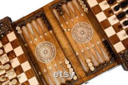 ÉCHECS TABLE BACKGAMMON 3 en 1 Luxueux livraison exclusive à la main Express inclus dans le bundle