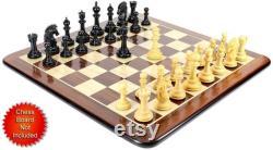 Ebony Wood Boxwood Chess Set Pieces Encore Staunton 4.5 2 Extra Queens Boîte de stockage en bois