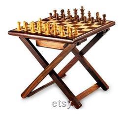 Échecs en bois faits main de table, table d échecs faite main de 12 pouces, échecs pliables, table d échecs forte et durable