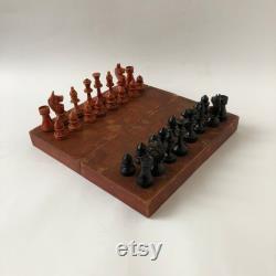Échecs miniatures soviétiques, échecs en bois antiques, panneau 20 x 20 cm, échecs de route, rareté, jeu intellectuel, vieux cadeau, URSS 50x
