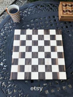 Échiquier artisanal de 16 pouces, érable et noyer solide, cadeau d anniversaire pour joueur d échecs, handcrafted pour Noël et jeu de société de vacances