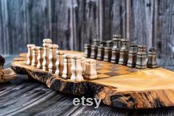 Échiquier en bois d olive, ensemble rustique unique d échecs en bois d olive, vintage fait main d échecs, échiquier et morceaux, cadeau vintage d échecs live edge