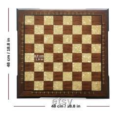 Échiquier en bois fait main rouge (48 x 48 cm 18,8 x 18,8 po)