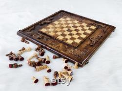 Échiquier en bois massif fait à la main, échiquier massif en bois fait sur mesure, ensemble d échecs en bois de figures cadeau idéal d anniversaire